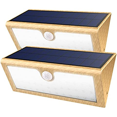 Lámpara LED GrandBeing [2 PACKs] Aplique 46 LED de Pared con Panel Solar (4400mAh Batería Litio Recargable), Luz Solar de Exterior con Sensor de Movimiento, Impermeabilidad y Refractario para Jartín, Patio, Camino de Entrada, Escaleras (Amarillo)