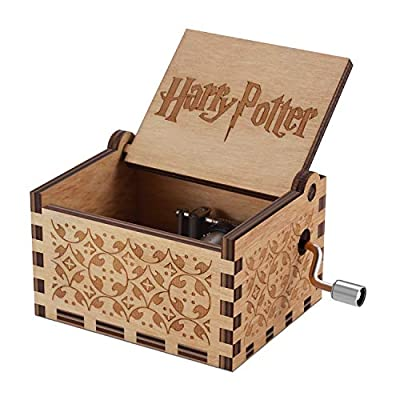 Hedwig's Theme Harry Potter Hand Cranked 18 Note Antique Laser Engraved Wooden Music Box