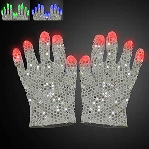 Zqmd LED Handschuhe, Sequin Handschuhe-Kostüm Show Stimme Spielzeug für Jungen Mädchen Geburtstagsfeier