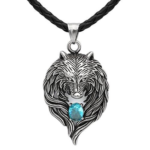 Detaillierte Antik Tribal Biker Herren Anhänger Wolf head Halskette mit Dazzling Aquamarin Blau Zirkonia-Edelstahl--leather