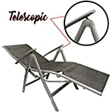 Kawachi Deluxe Relax Deck Chair in Aluminum with Armrest