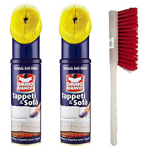 omino bianco pulitore per tappeti e sofà, 2 confezione da 300ml più spazzola tappeti.
