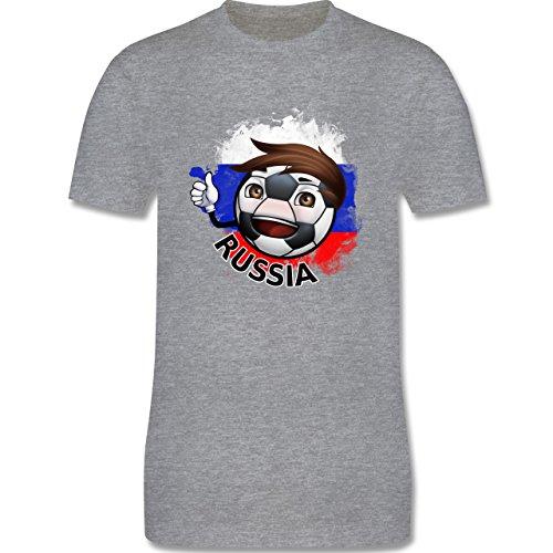 EM 2016 - Frankreich - Fußballjunge Russland - Herren Premium T-Shirt Grau Meliert