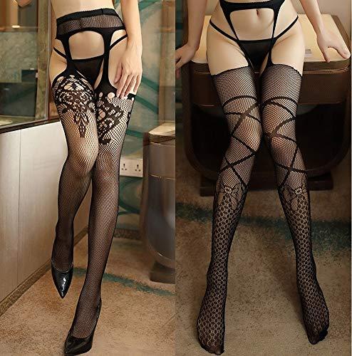 Sexymanly 2 Paar Netzstrumpfhosen Damen Schwarz Sexy Strümpfe Reizvolle Strapsen Mesh Strapsstrümpfe Fischernetze mit Strapshalter halterlose Dessous Strapsstrümpfe Netzstrümpfe für Frauen