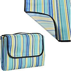 [casa.pro]® Manta de pícnic XXL - 200x190cm - mantel - parte inferior resistente al agua, con asa - de rayas azules y amarillas