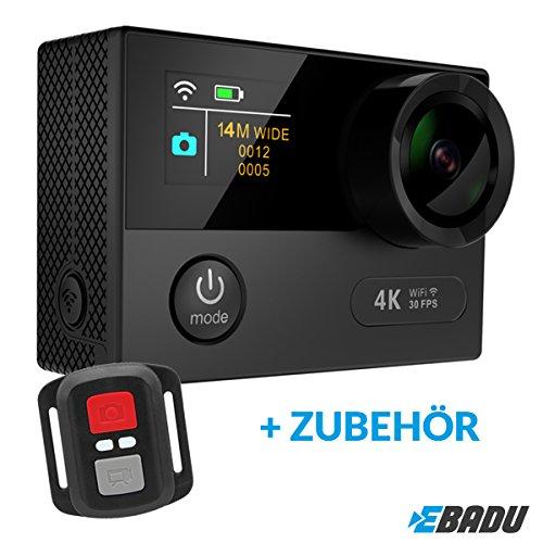EBADU Action Cam 4K12: Wasserdichte Kamera mit 4K/30fps (1080p/60fps) Wifi, Fernbedienung, Super-Weitwinkel-Objektiv, Timelapse, Slow Motion