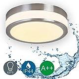 LED Deckenleuchte Bad-Lampe Aussen-Leuchte 2x E27 230V IP44 LED Wandleuchte LED Leuchte Aussenbeleuchtung Wohnzimmerlampe für Badezimmer Küche Flur Badleuchte Rund Ø25 cm