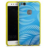 Huawei P10 lite Silikon Hülle transparent gelb Case Schutzhülle Palmen Blaetter Leaves