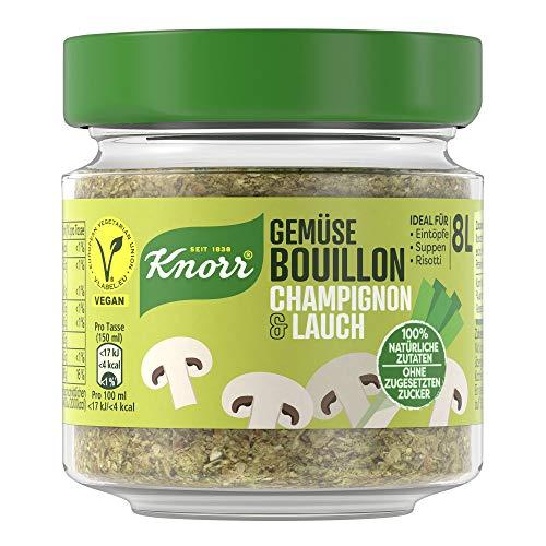 Knorr Gemüse Bouillon Champignon & Lauch (100{7177d09b8c8d96abbb4997a77636eb2c3c6eef780af21962711bf53335f4192c} Natürliche + Vegane Zutaten im Glas, 96 g )