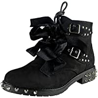 Loud Look Ladies Spikes Studded Tie Up Buckle Army Combat Boots Size 3-8