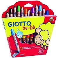 Giotto be-bè 466500 - Estuche 12 súper lápices de colores (mina de 7 mm diámetro, capuchón posterior de seguridad anti-mordedura, anti ahogo y sacapuntas), multicolor