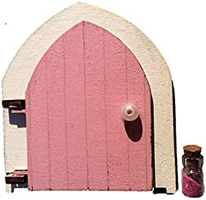 Designed by Soriska Fairy Door Pink and Fairy Dust -Opening with Pearl Door Handle. engraved Fairy inside.