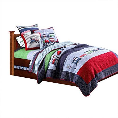 Caredy Tagesdecke, 2 StüCk Bettdecke Set KinderbettwäSche Zug Gesteppte Baumwolle Tagesdecke Bettdecke Sommer TröSter Klimaanlage Decke 173 * 218Cm -
