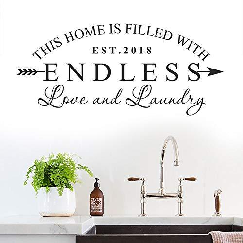 WSYYW Waschküche Wandtattoo Dieses Haus ist mit endloser Liebe und Wäsche Wäsche Dekoration für Wand Glastür Decals Soft Pink 35 94x42cm gefüllt (Tiere Gefüllte Anime)