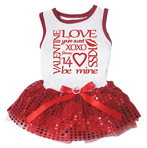 Petitebelle Welpen Kleidung Hund Kleidung Süßes XOXO, Weiß, Rot mit Tutu
