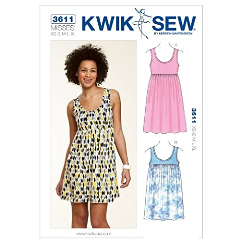 KWIK - SEW PATTERNS K3611 Size Extra-Small - Small - Medium - Large - Extra-Large Pull - Over Dress and Tunic, Pack of 1,
