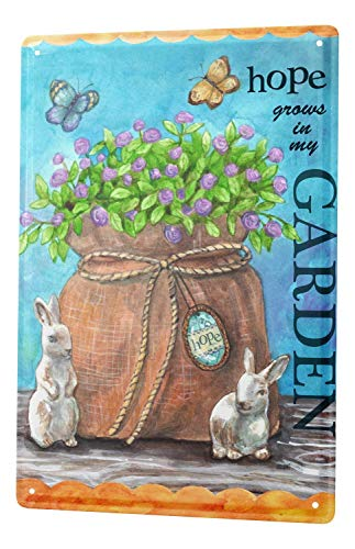 Garden Wall Plate (St574ony Metal Sign 12x16 Inches Poster Plaque Tin Plate Vintage Plaque Plants Blue Flowers Bag Bunny Butterflies Garden Hope)