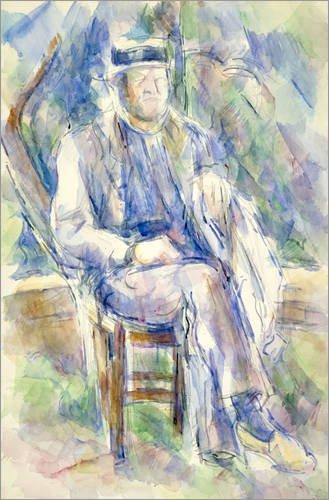 Cuadro sobre lienzo 120 x 180 cm: Man Wearing a Straw Hat de Paul Cézanne / Bridgeman Images - cuadro terminado, cuadro sobre bastidor, lámina terminada sobre lienzo auténtico, impresión en lienzo