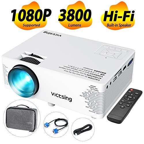 VicTsing Mini Beamer 2019 Upgraded Projektor 3800 Lumen Full HD 1080P tragbarer Heimkinoprojektor mit HiFi-Klangqualität Tasche Beamer kompatibel mit TV-Stick, PC, Laptop, USB / HDMI / VGA / SD / AV