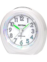 Rhythm Added Beep Alarm Clock Pearl White 8.2x8.1x4.2 Cm