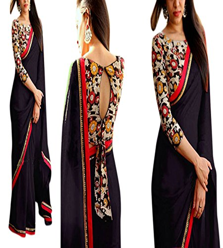 RV Creation Designer Ethnic Wear black Color Saree With Designer Printed Blouse Peice