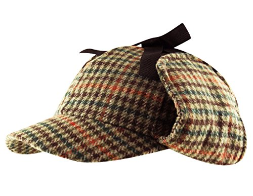 tweed-deerstalker-sherlock-holmes-hat-wool-country-check-two-peaks-ear-flaps-unisex-brown-60cm-l-xl