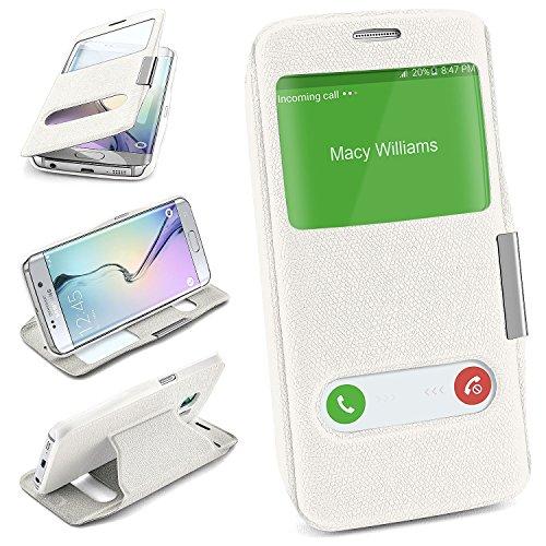 Comfort Case für Samsung Galaxy S6 Edge   Komfortable Hülle mit Sichtfenster und Standfunktion   Handy Schutz Tasche von OneFlow   Flip Cover in Weiss