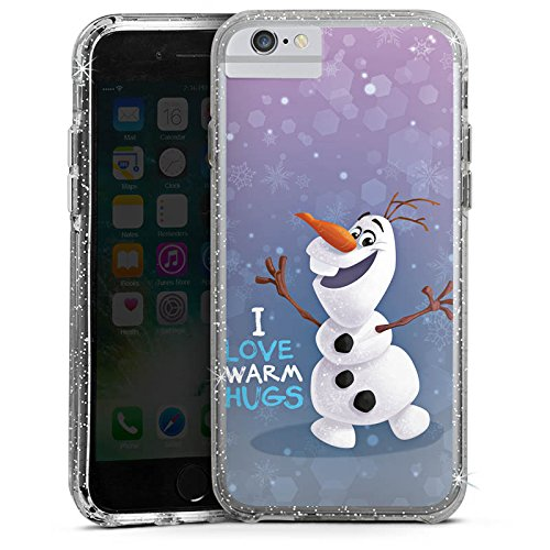 Apple iPhone 8 Bumper Hülle Bumper Case Glitzer Hülle Disney Frozen Olaf Geschenke Fanartikel Bumper Case Glitzer silber