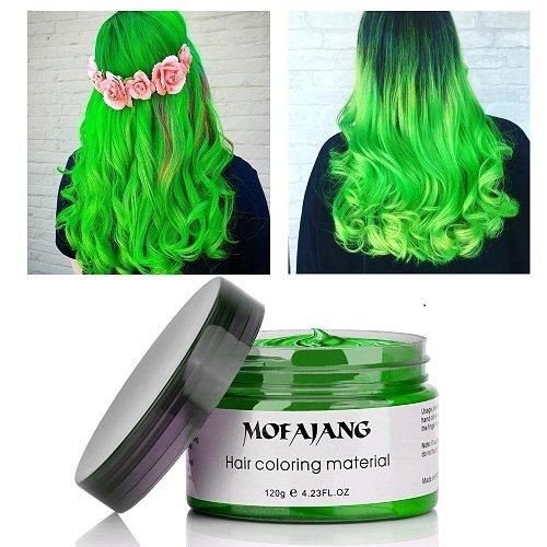 Haarfarbe Wachs, MOFAJANG Grün Haar Styling Wachs, temporäre Frisur Farbstoff Wachs Schlamm Creme Haarpomaden Mode DIY Für Männer und Frauen- 120g