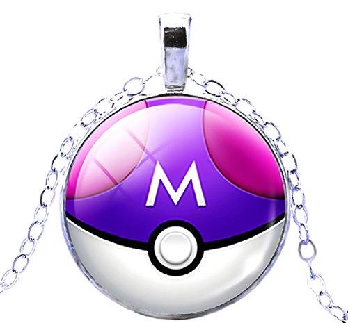 Halskette Pokemon Ball Gehen Stecken 'Pokeball In 6 Farben (Lila-Weiß) Zu WäHlen