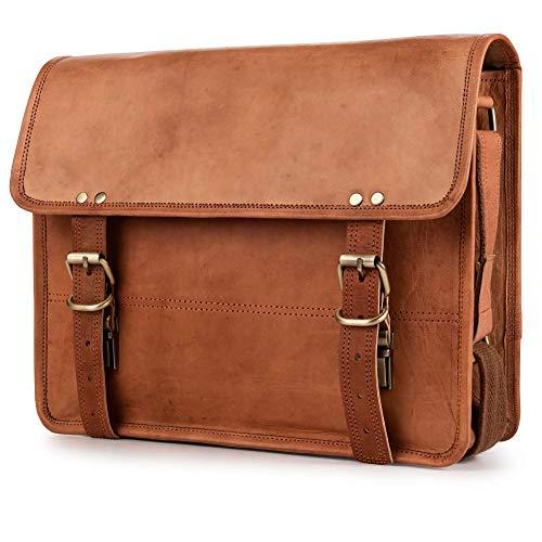 Berliner Bags York M Umhängetasche Messenger 12 13 Zoll Laptoptasche Ledertasche Vintage Braun Herren Damen Mittel -