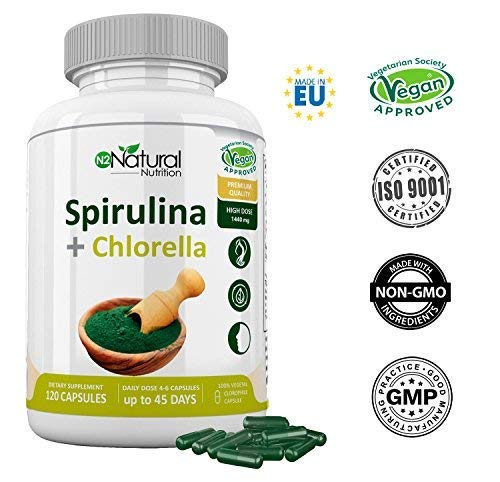 Chlorella Spirulina.Spirulina Powerful DETOX Antioxidant-Immune System-Vegetable Proteins-Iron-Eliminates Metals-Probiotic-180 Capsules Vegetal.1250mg.Certificate Vegan.N2 Natural Nutrition