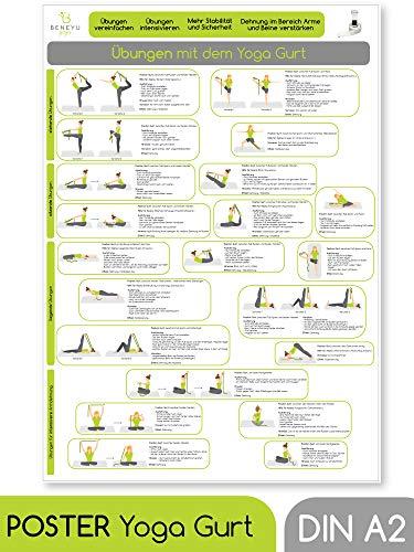 beneyu ® Yoga Poster für Yoga Gurt mit Yoga Asanas in Deutscht, DIN A2 (60x42cm) aus Klimaschonender Produktion (auf A4 gefalzt) (gefalten, DIN A2)