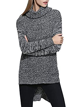 ELLAZHU Mujer Moda Turndown Collar largo mangas Irregular Suéter YY59 L