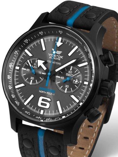 Vostok Europe 5954198 - Reloj para hombres, correa de cuero color negro