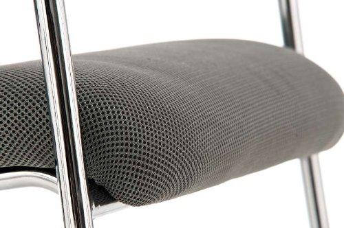 CLP Konferenzstuhl CUBA mit Stoffbezug und hochwertigem Sitzpolster | Besucherstuhl mit Armlehne und Metallgestell Grau - 5