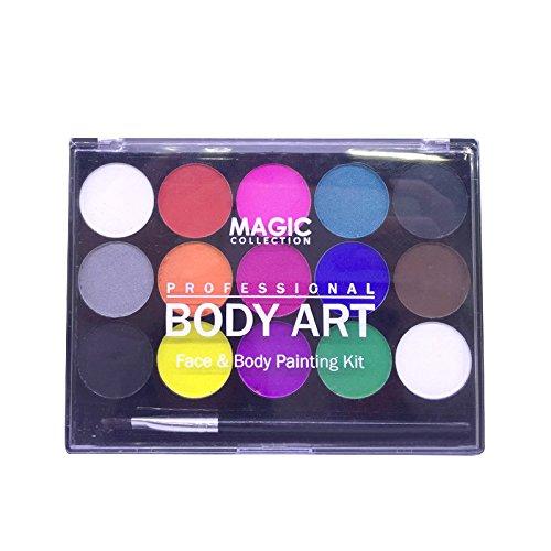 TOOGOO Coupe du monde Pigments de peinture corporelle solubles dans l'eau Ensemble de peinture professionnelle de 15 couleurs de visage pour des fetes diverses