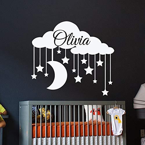 Personnalisé Nom Stickers Muraux Nuages   Decal Girl Vinyle Wall Sticker Bébé Chambre Étanche Bébé Pépinière Autocollants Papier Peint Z 42x48cm