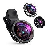 Criacr 3 in 1 Clip-On Handy Objektiv Set, 180°Fisheye Objektiv + 0,4X Weitwinkel + 10X Makro Objektiv, Objektiv für Handy, Objektiv Handy für Die meisten Smartphone