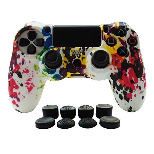Hikfly Silikon mit Gummi-Öl-Gel-Controller Deckel Hautschutz Fall Faceplates Kits für Sony Playstation 4 PS4 / PS4 Slim / PS4 Pro Controller Videospiele (1x Controller Abdeckung mit 8 x FPS Pro Daumen Griffe Caps)(Weiß Farbe) (Ps2-gta 4)