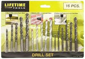 Lifetime Tools 40675 Jeu de 16 Forets bois/béton/métaux