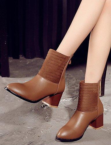 ShangYi Mode Frauen Schuhe Damenschuhe Herbst / Winter Fashion Stiefel Kleid Ferse Reißverschluss Schwarz / Braun / Rosa / Grau Wandern Schwarz