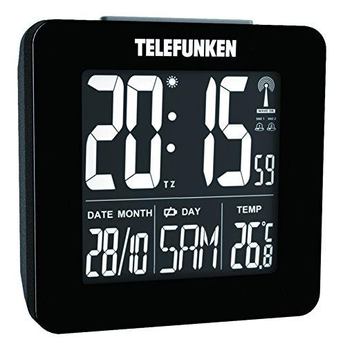 Telefunken FUX de 260de HRB (B) DCF LCD de radio despertador digital con pantalla hochauflösendem negativo, puerto USB para Ext. Alimentación, indicador de temperatura y calendario automático. Horario (Negro)