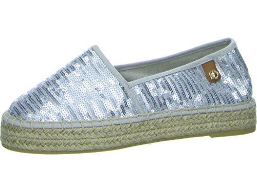 Tamaris Schuhe 1-1-24602-28 Bequeme Damen Slipper, Halbschuhe, Sommerschuhe für Modebewusste Frau, Trend Metallic (Silver Sequins), EU 37