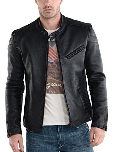 Syedna Men's Leather Jacket (SWLG06 _Black_Large)