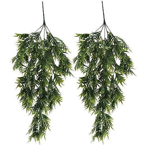 MIHOUNION Kunstpflanze Hängend 2Pcs künstlicherBambuskünstlich Gefälschte Pflanze Plastikpflanzen Grün für Topf Küche Garten Party Wand Dekoration