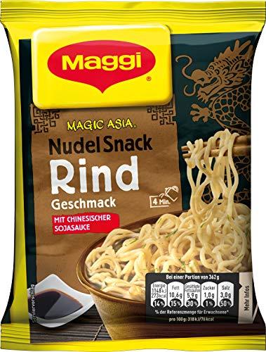 Maggi Magic Asia Instant Nudel Snack Beef, asiatisches Fertiggericht, mit Rind-Geschmack, scharf gewürzt, 12er Pack (12 x 62g)