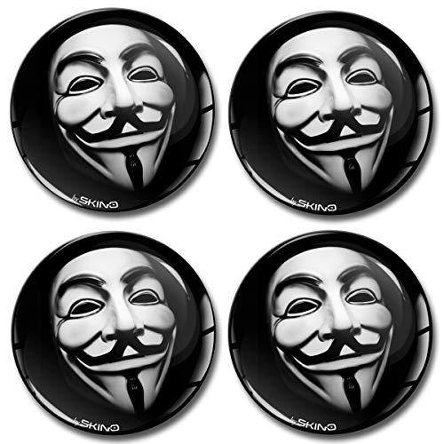 Skino 4 x 60mm Adesivi Resinati 3D Gel Stickers Auto Coprimozzi Logo Silicone Autoadesivo Stemma Adesivo Copricerchi Tappi Ruote Anonymous Maschera A 660