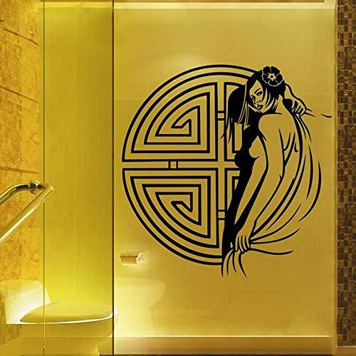 Wandsticker Klassische Charmante Frau Wasserdichte Vinyl Wandtattoos Traditionellen Chinesischen Stil Sexy Wandbild Wandaufkleber Pub/Badezimmer Dekoration 60 Cm X 55 Cm -