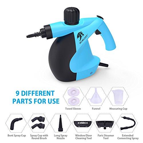 MLMLANT Limpiador de vapor a presión de mano con juego de accesorios de 11 piezas - Multiuso y Multi-superficie Todo natural, limpieza de vapor sin productos químicos para el hogar, automóvil, patio, Más ...
